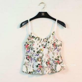 Brand New Flora Spaghetti Top with High Waist Short