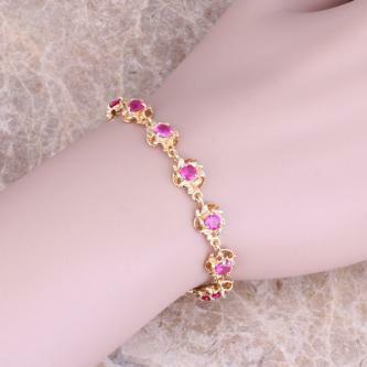 Brand new, red ruby 18K gold filled bracelet