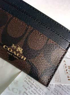 COACH Card Case in brown/black color (brand new, complete set)