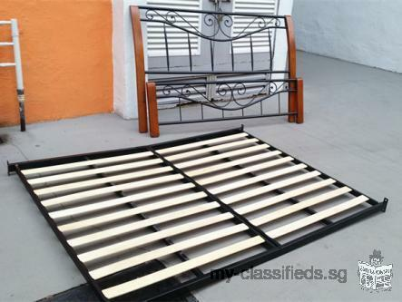 IKEA good quality queen size metal bed frame + queen size mattress