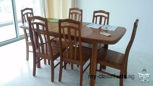 Japanses Used Wooden Dining Table with 6 Chairs
