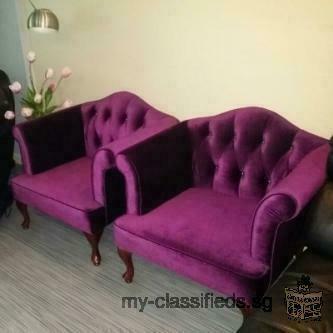 Purple Velvet Single Arm Chair