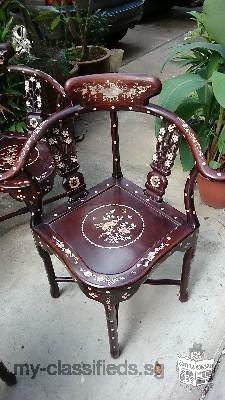 Exquisite 1980s Rosewood Chairs with Mother of Pearl